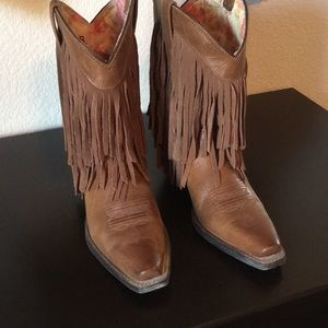 Fringed leather Ariat cowgirl boots